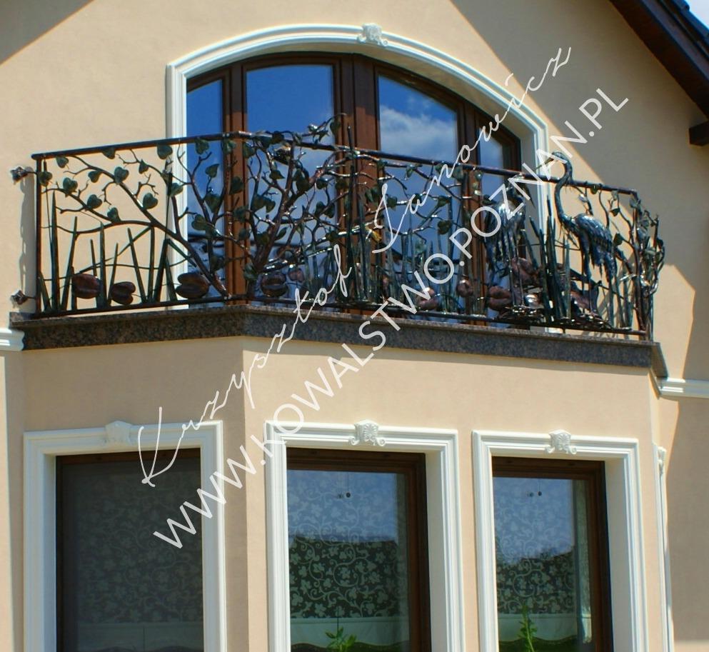Balustrada z ptakami żurawie