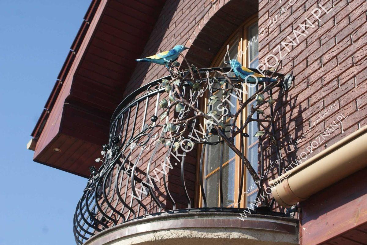 Balustrady balkonowe niebieskie ptaki kraska liście